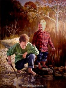 Brothers<BR> Jay met with the client to shoot several photographs of her sons and a favorite fishing spot for this commissioned painting. Brothers - Commission Commissions Custom Paintings