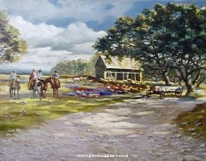 Hill Country Ranch in Spring<BR> A colorful Spring scene is captured at a historcal ranch. Carls Place - Commission Commissions Custom Paintings
