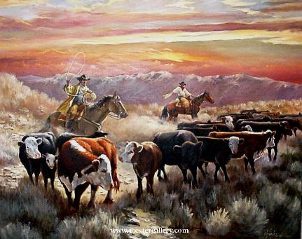 Cattle drive in Montana<BR>A beautiful sunset is captured during an actual cattle drive on a Montana ranch. Cattle Drive - Commission Commissions Custom Paintings