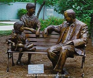 George Mitchell Monument<BR>Life-size bronze monument located in Woodlands, Texas George Mitchell Monument Maquetts Monumental Sculpture