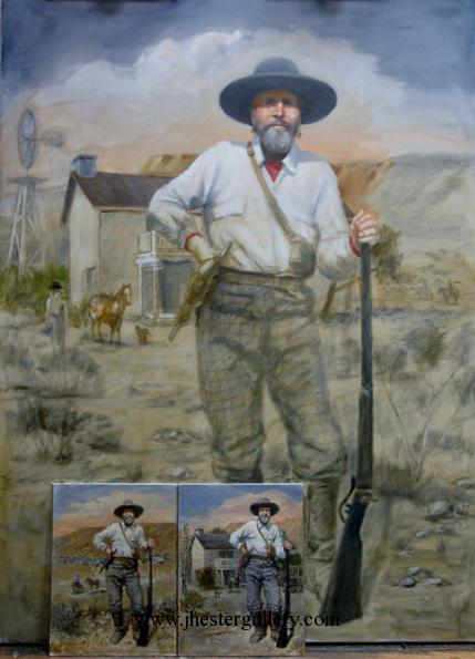"""Hank Smith""<BR>The preliminaries and the beginning stages of the commission of an early pioneer in West Texas. Hank Smith - Commission Commissions Custom Paintings"
