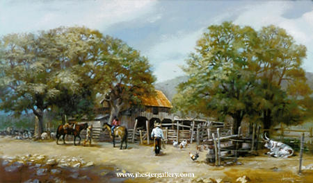 Hill Country Setting<BR> A true love for Texas and the German Hill Country shows in each Hill Country painting by Jay Hester. Hill Country - Commission Commissions Custom Paintings