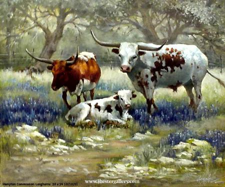 Prize Picks<BR> These longhorns were the favorites of their owners. Longhorns - Commission Commissions Custom Paintings