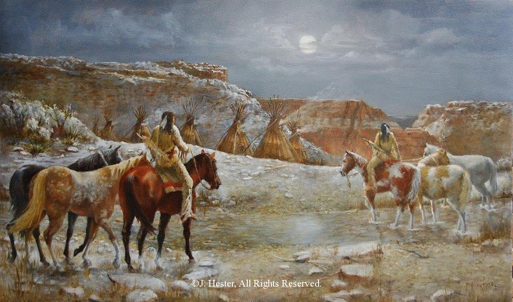 """Palo Duro Refuge""<BR>24"" x 40"" Framed Original Oil Palo Duro Refuge J. Hester Originals Available J. Hester Art"