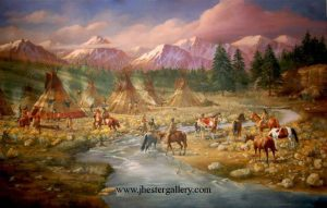 """Preparing for the Hunt""<BR>This 60""x90"" Native American encampment painting was commissioned to complete the western theme throughout the home. Preparing for the Hunt - Commission Commissions Custom Paintings"