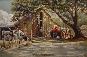 Untitled<BR> This commissioned oil painting shows three sons in a warm Texas country setting. Untitled - Commission Commissions Custom Paintings