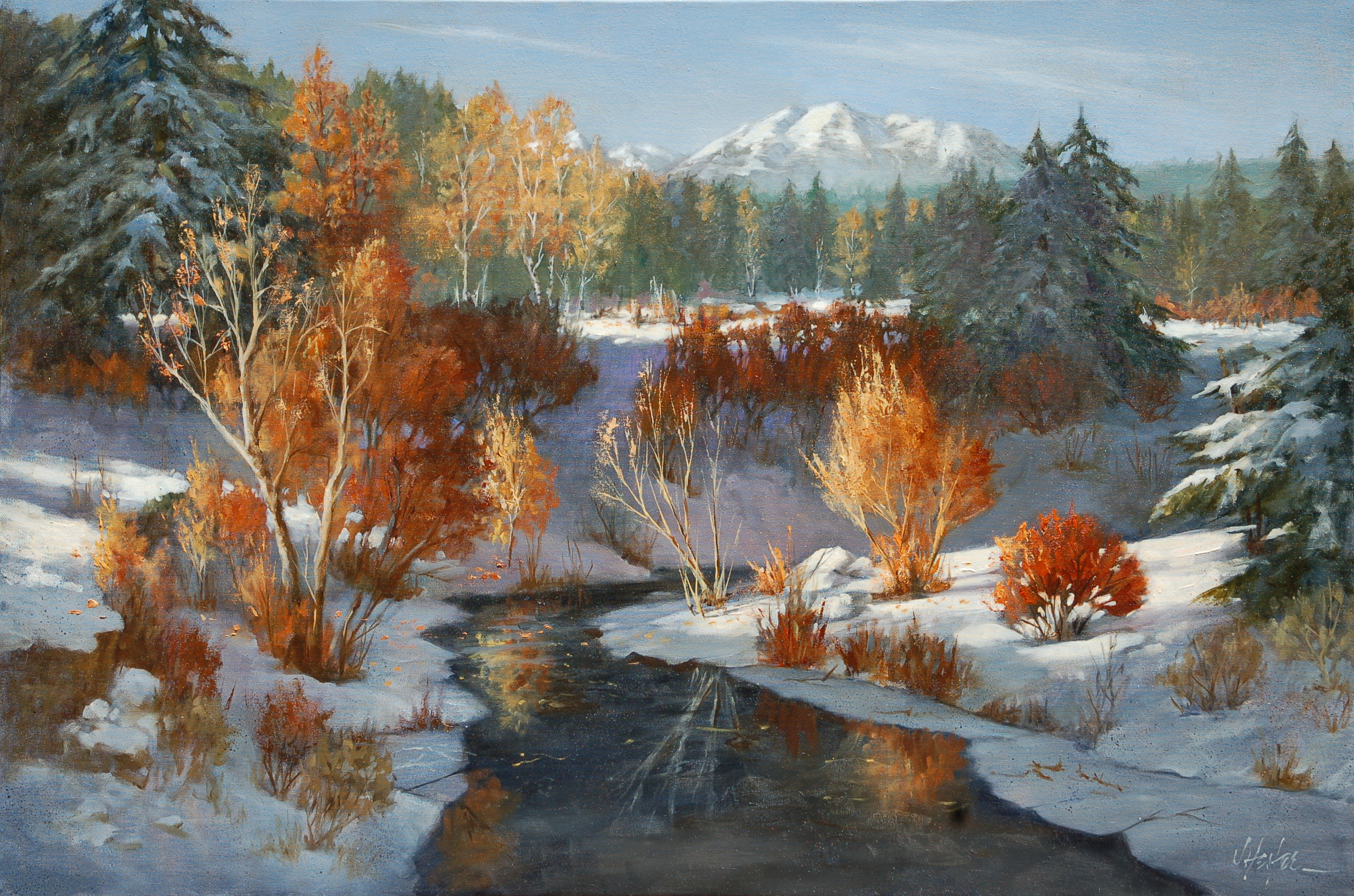 """Winter`s Glory""  -  24"" x 36"" Original Painting by J Hester"
