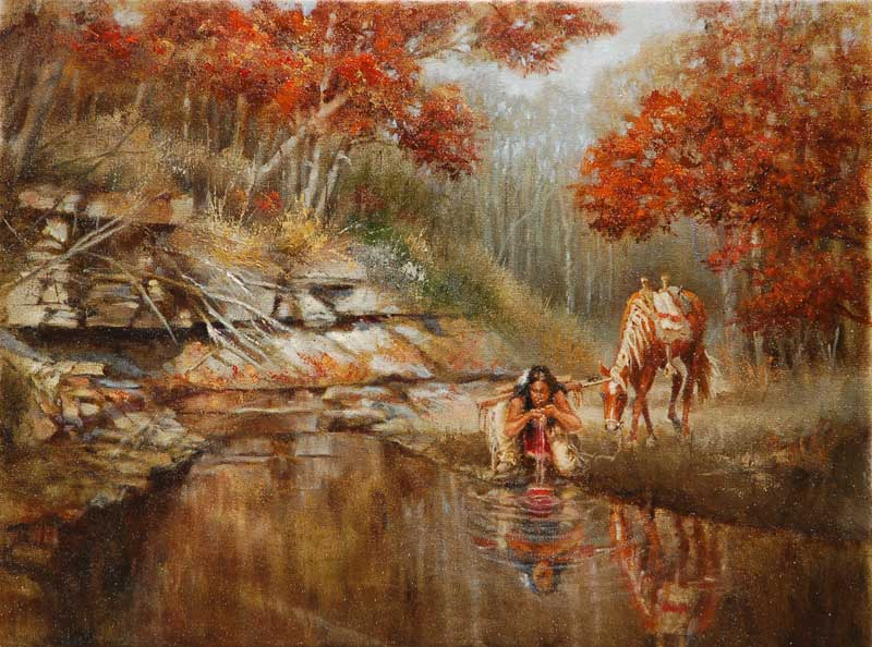 """""""Nature's Mirror"""" 18'' X 24'' Native American drinking from a clear, calm pool of water. Original Oil by J Hester"""