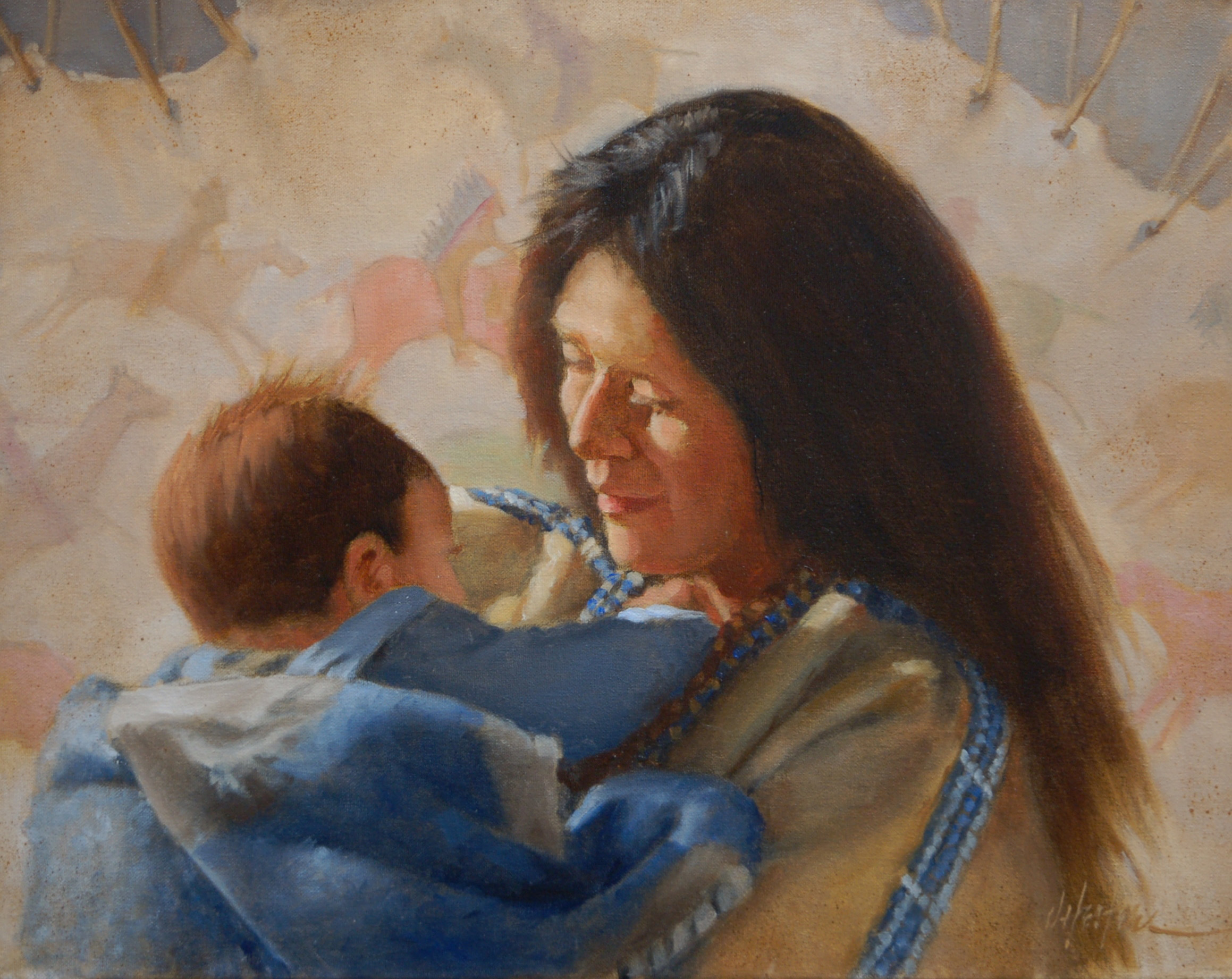 """Tribal Heritage"" - 16'' x 20'' - Original Oil by artist J. Hester"
