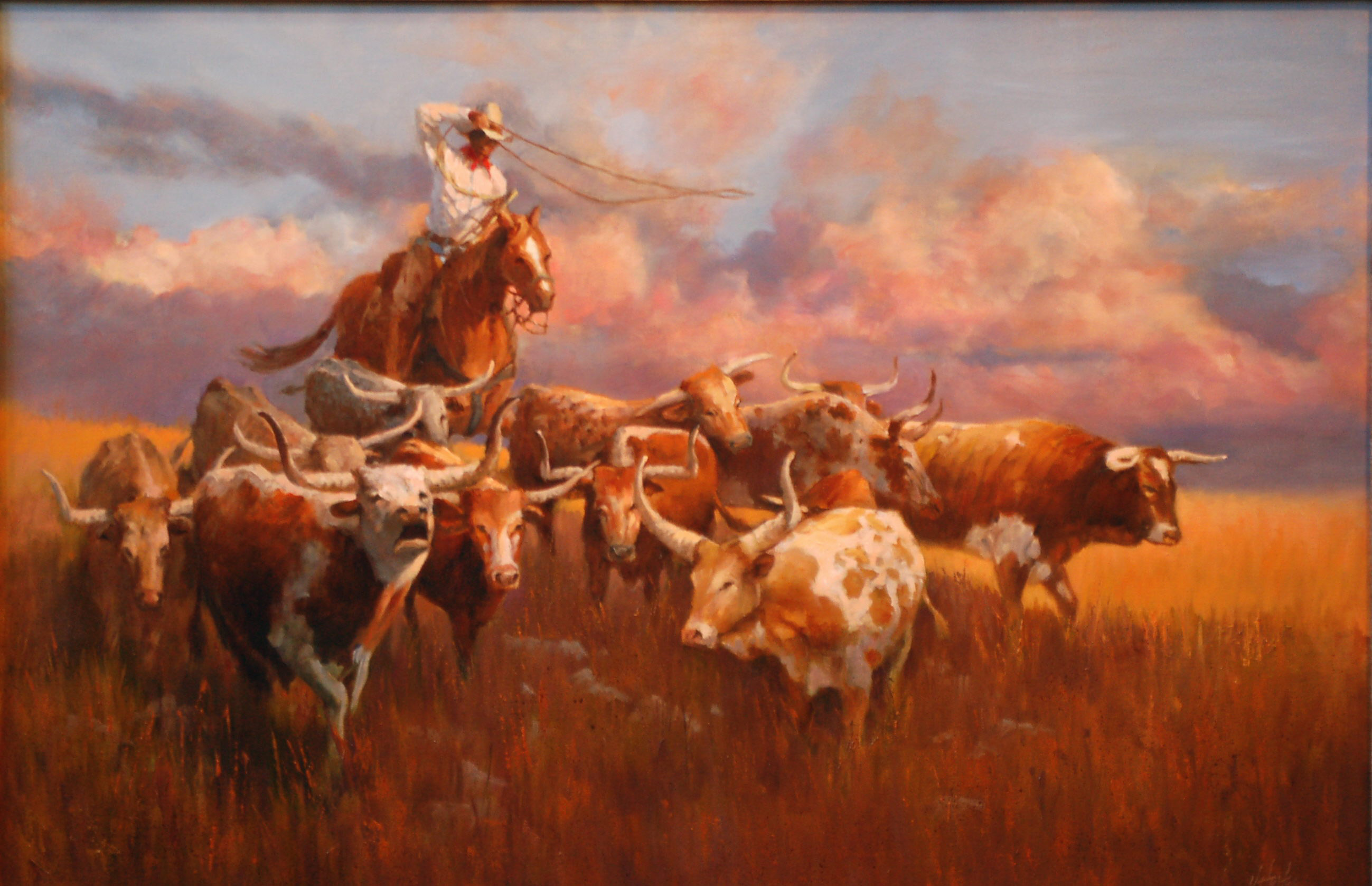 """Reluctant Leader"" - Western Cattle Drive original oil - 24"" x 36"" by J.Hester"