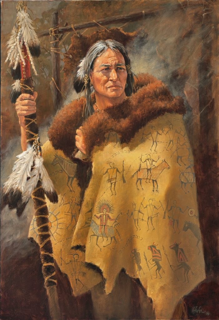 """Robe of Legends"" - Native American original oil by J. Hester"