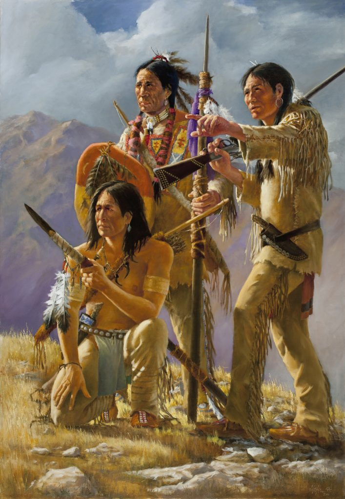 """The Uninvited"" - Native Americans 64"" x 44"" original oil painting by J. Hester"