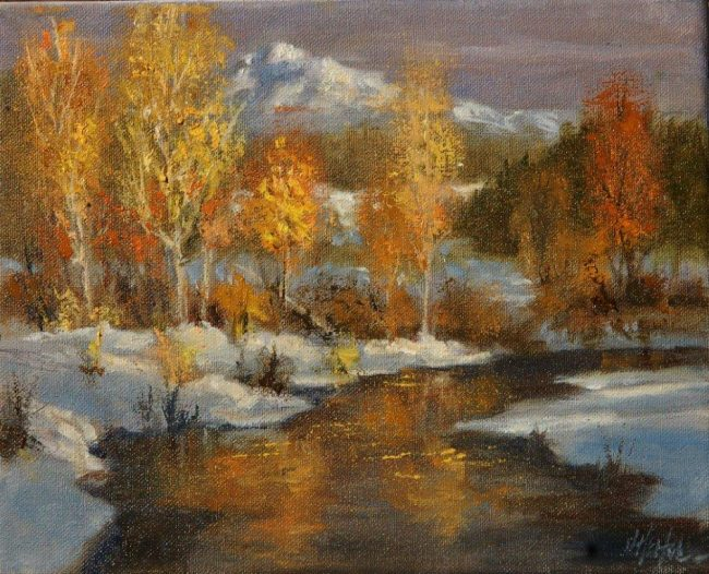 """Winter's Display"" by J. Hester Original - 8"" x 10"" Oil on Canvas"