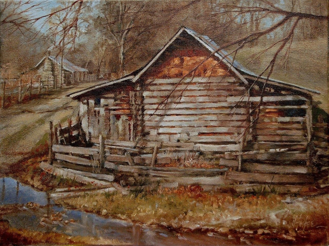 """Hay Barn"" by J. Hester Original Oil Painting 12"" x 16"""