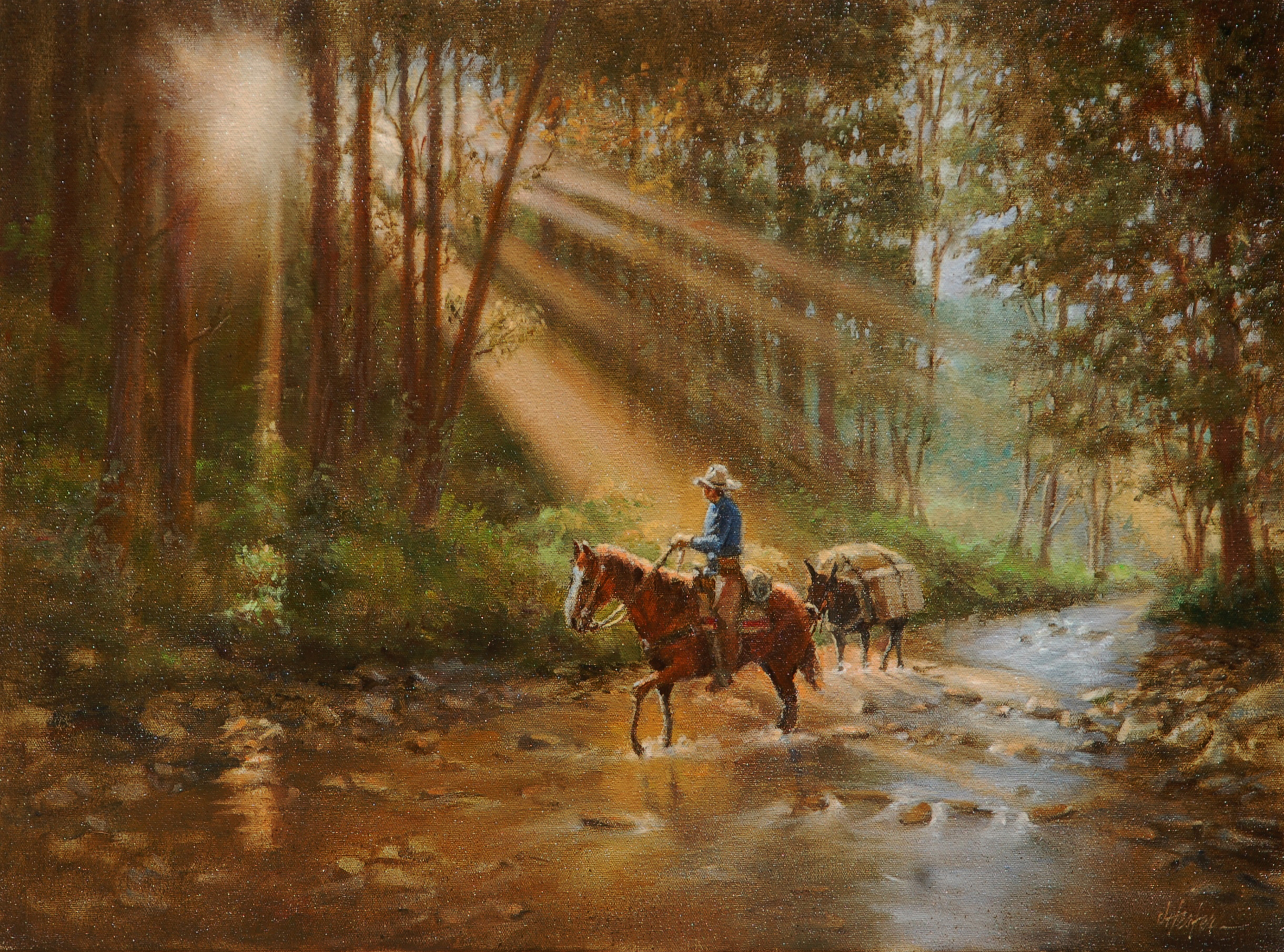 """New Day Dawning"" Original Painting by J. Hester Original Oil Painting - 18"" x 24"""